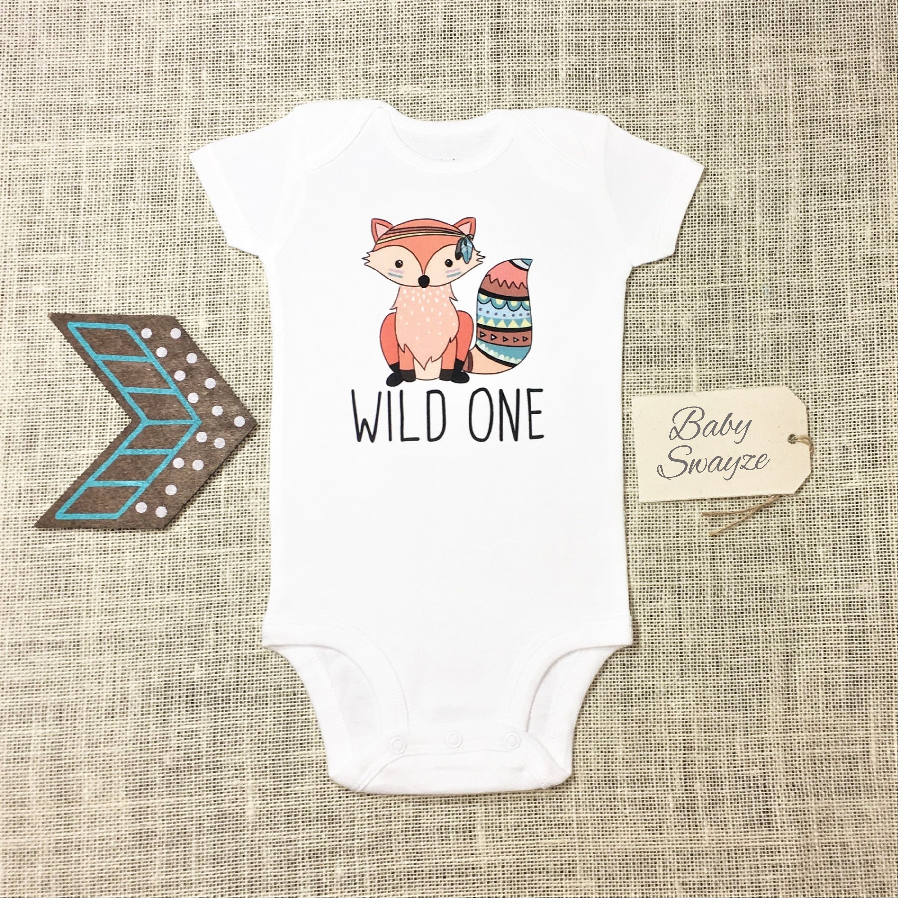 373415201bea4 Wild One - Cute Tribal Fox Baby One Piece Bodysuit or Toddler ...