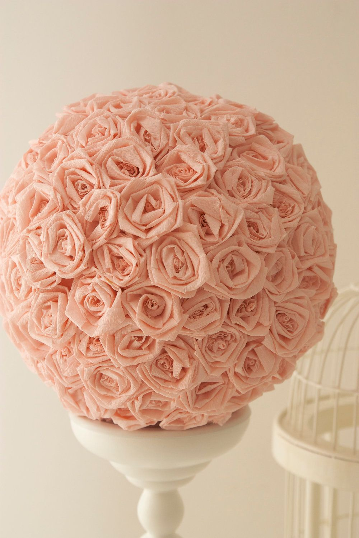 Handmade crepe paper rose pomander ball party ideas