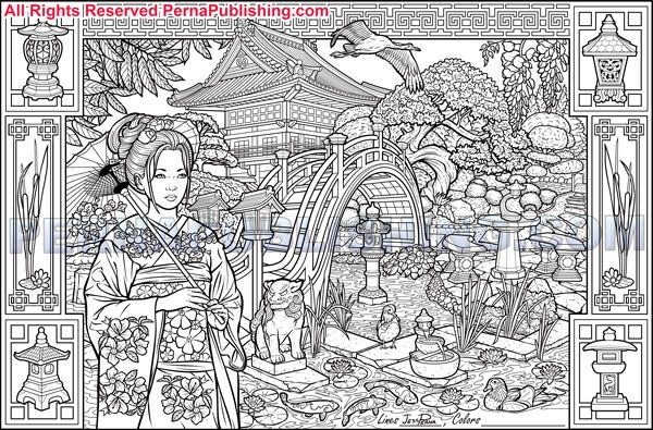 Japanese Coloring Book Pages. Japanese Garden Adult Coloring Book Poster  books