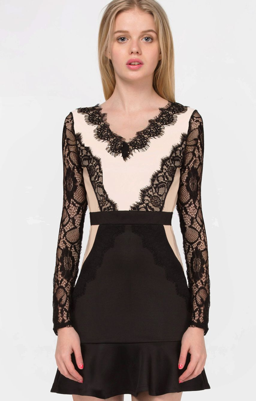 Black long sleeve backless lace ruffle dress essentials