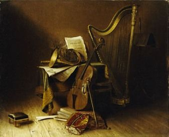 Still Life with Musical Instruments, American School