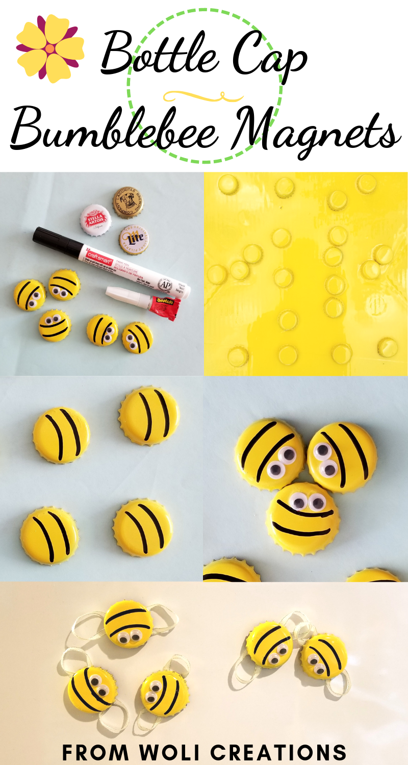 Bottle Cap Bumblebees | Spring Crafts | Woli Creations