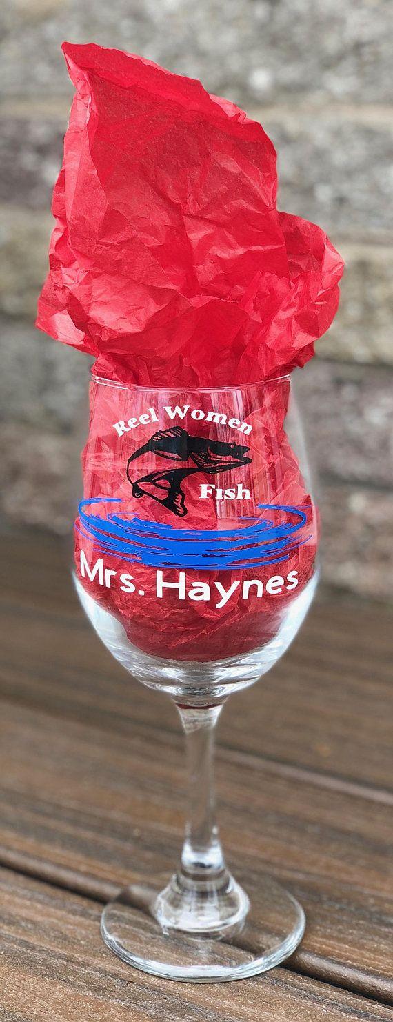 Fish Wine Glass Personalized Fish Wine Glass Reel Women Fish Etsy Personalized Wine Glass Wine Glass Wine