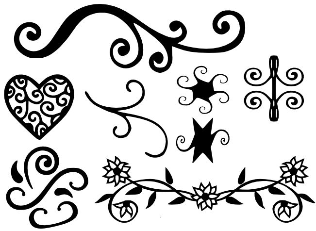 Free Svg File Decorations 1 Swirleys Flowers Heart Flourish Svg Silhouette Crafts Free Svg