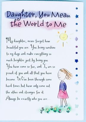 Daughter, You Mean the World to Me greeting card,