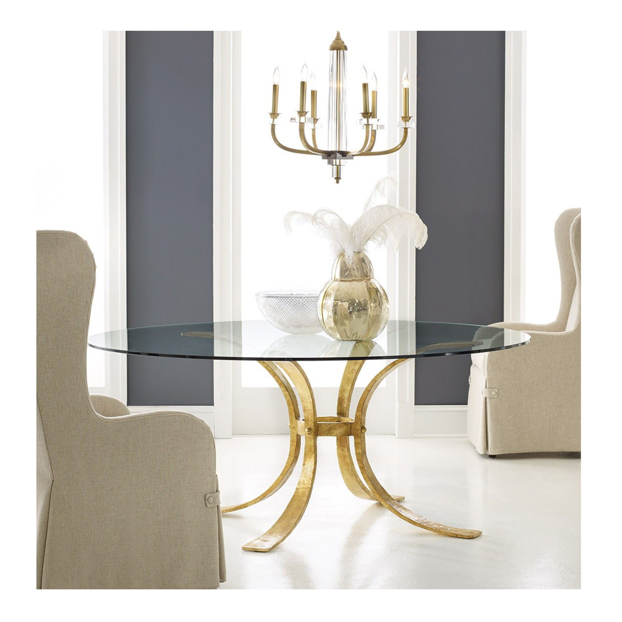 Retro Gilded Dining Table Gold Round Modern History Mh780f01