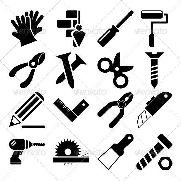Hammer Turnscrew Tools Icon Stock Vector - Image: 46707944