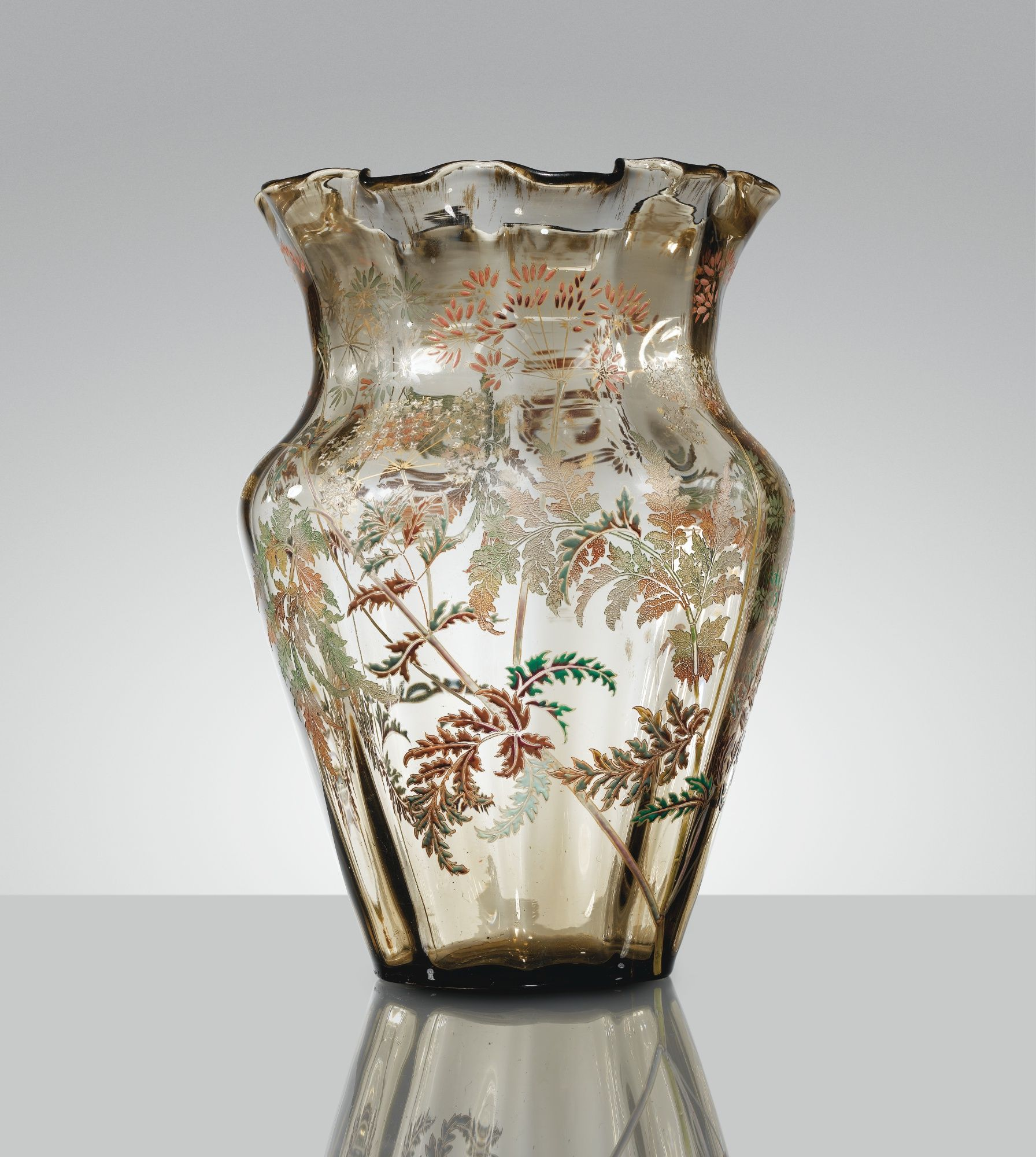 Emile gall vase vers 1890 an acid etched enameled and gilt emile gall vase vers an acid etched enameled and gilt smoked glass vase circa signed reviewsmspy