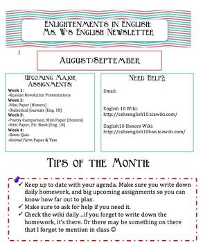 classroom newsletter teaching pinterest