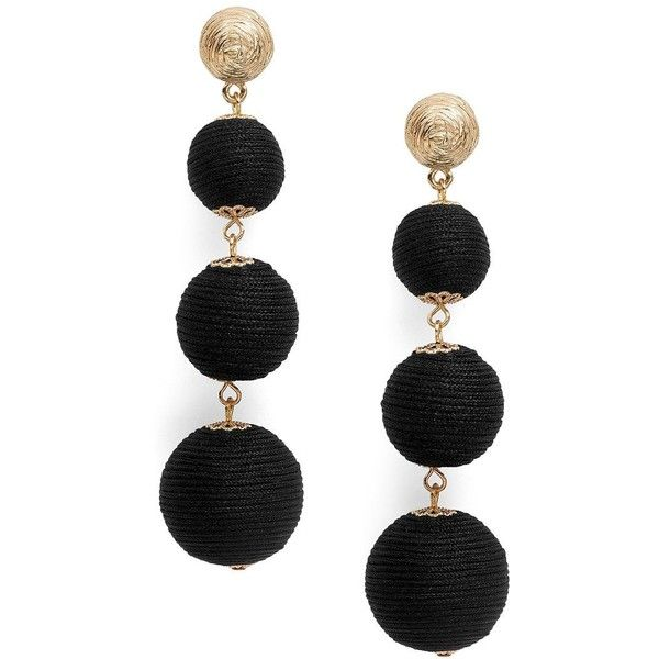R.J. Graziano Ball Drop Earrings (44 CAD) ❤ liked on Polyvore featuring jewelry, earrings, black, drop earrings, ball jewelry, beading jewelry, r j graziano earrings and r.j. graziano jewelry
