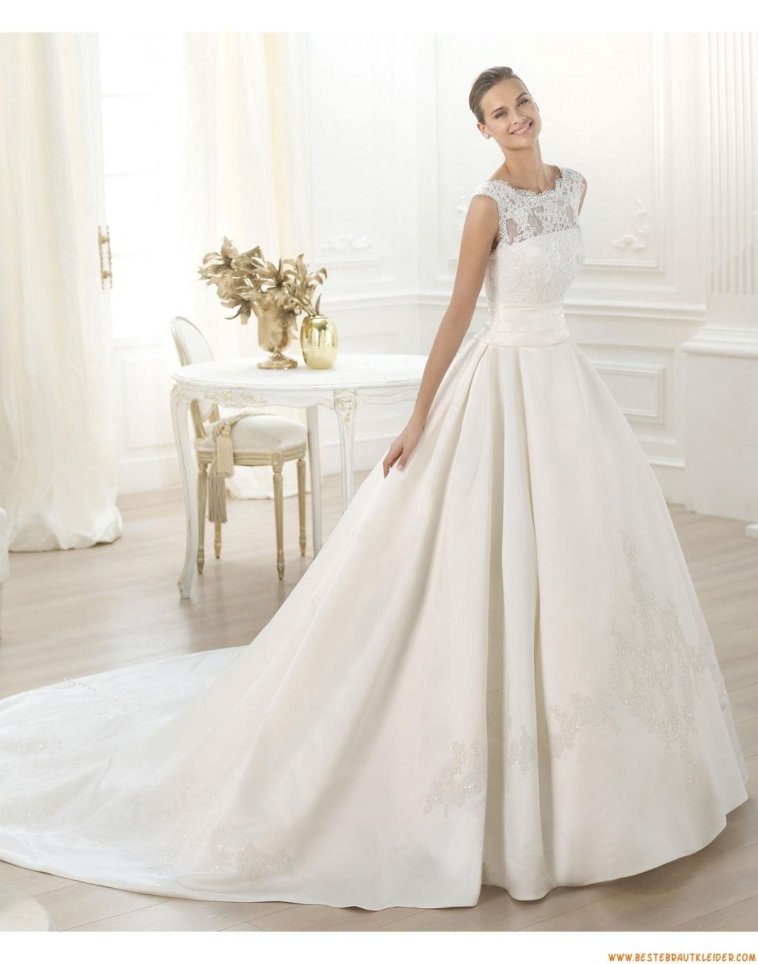 2015 Schicke Aktuelle Lange Brautkleider aus Satin mit ...