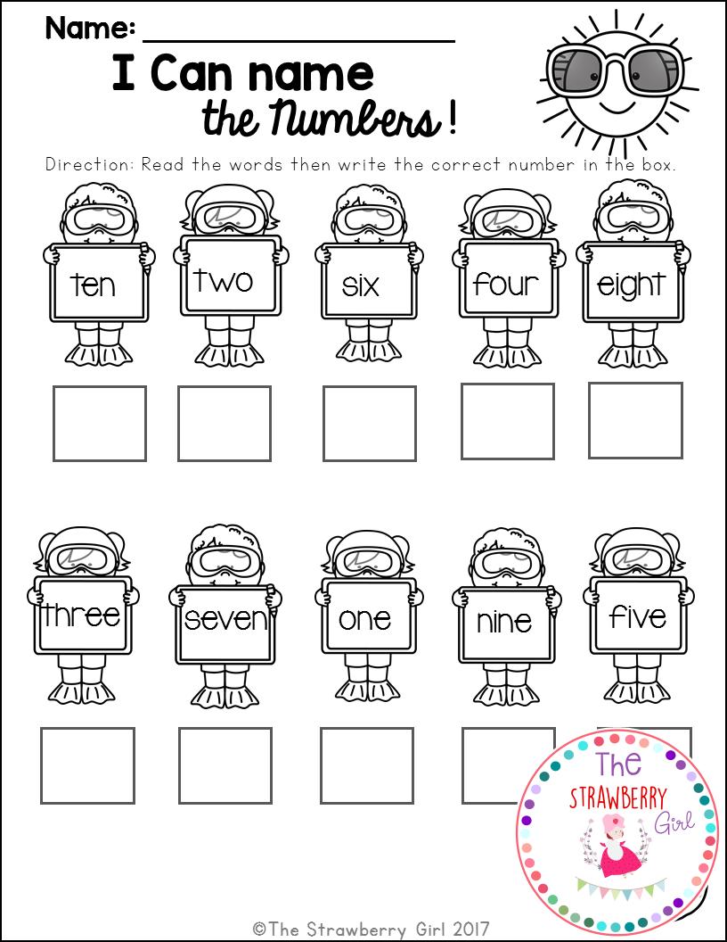 Kindergarten Math Worksheets - Summer   Kindergarten math free [ 1056 x 816 Pixel ]