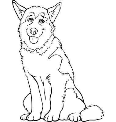 Husky Or Malamute Dog Cartoon For Coloring Vector 1124902