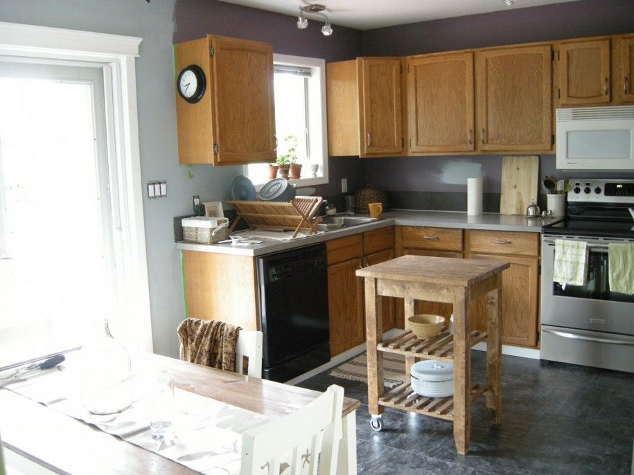 Intriguing grey walls in kitchen with white cabinet for Cool kitchen wall colors