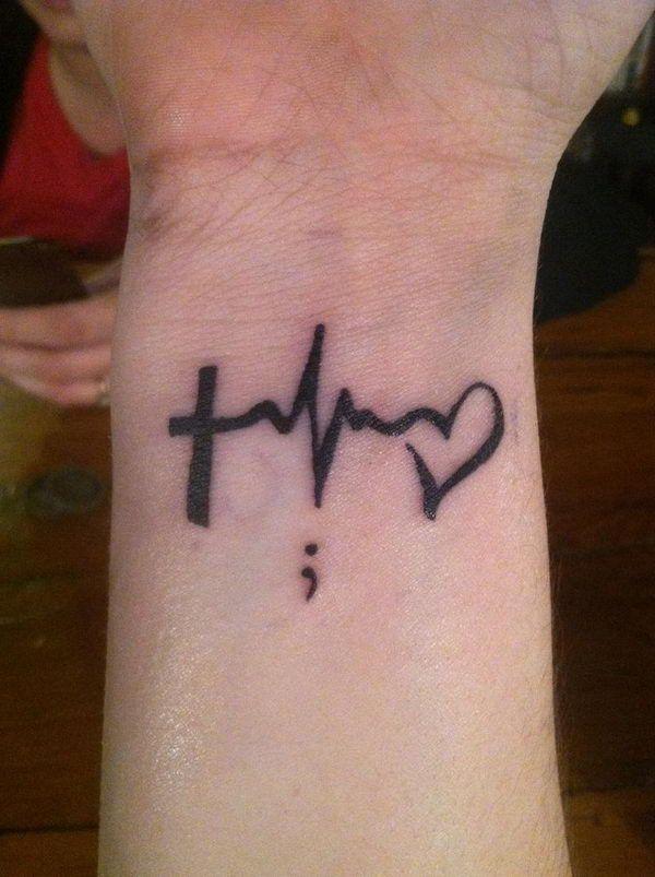 28793af9c 16. Black Ink Cross Ekg Heart Heartbeat Tattoos For Men Wrist ...