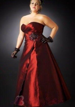Taffeta Strapless Sweetheart A-line Plus Size Evening Dress P2956
