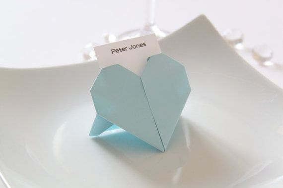 Wedding Origami Heart Place Cards X 50 Light Blue Weselnie