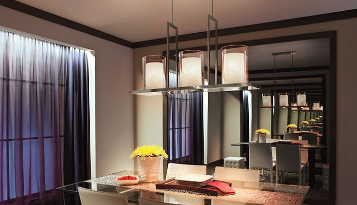 39 big 39 makes a bold statement with this kichler 6 light linear chandelier from the triad - Kichler dining room lighting ideas ...