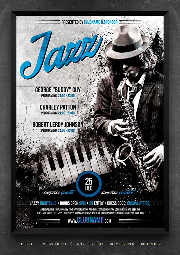 jazz blues concert flyer template flyers pinterest. Black Bedroom Furniture Sets. Home Design Ideas
