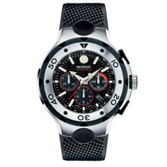 Men's Movado Series 800 Chronograph Stainless Steel Watch with Black Dial and Strap (Model: 2600059) $2900