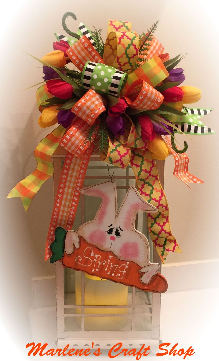 Spring Easter Bunny Swag Lantern Swag With Bunny And Tulips Tulip
