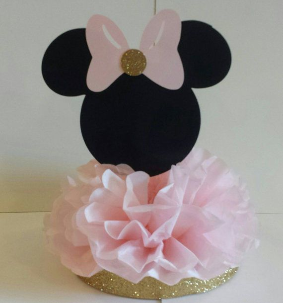 Minnie mouse birthday party or baby shower centerpiece for Decoracion de cumpleanos rosa y dorado