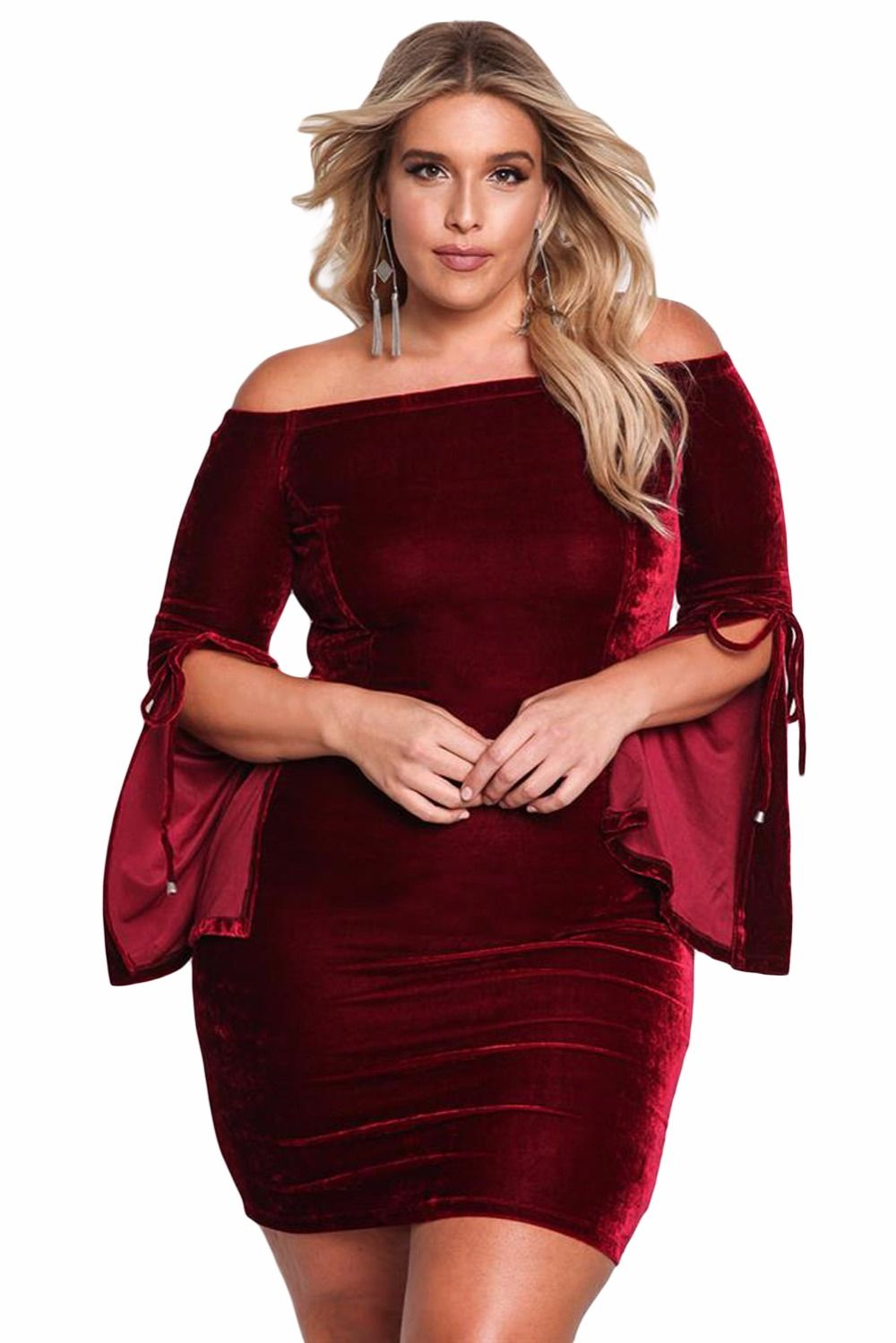 2ff4f1002914 Plus Size Velvet Off Shoulder Bell Sleeve Bodycon Dress Large Women Clothes  - www.ladypersona.com