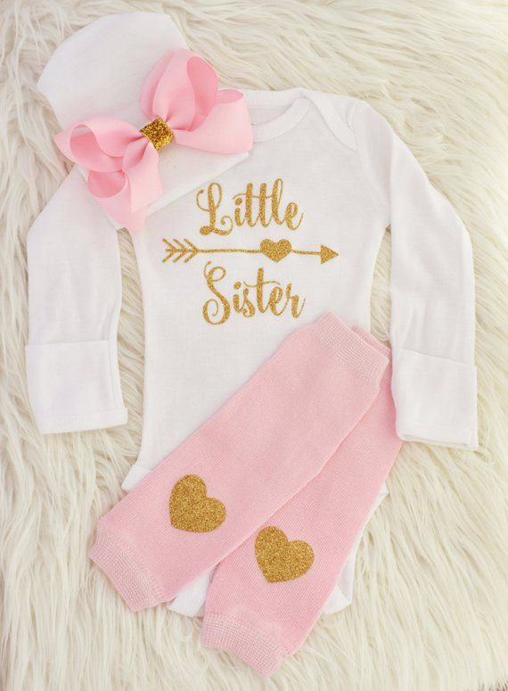 271b4712863ab Little sister outfit, baby girl coming home outfit, little sister shirt,  baby girl