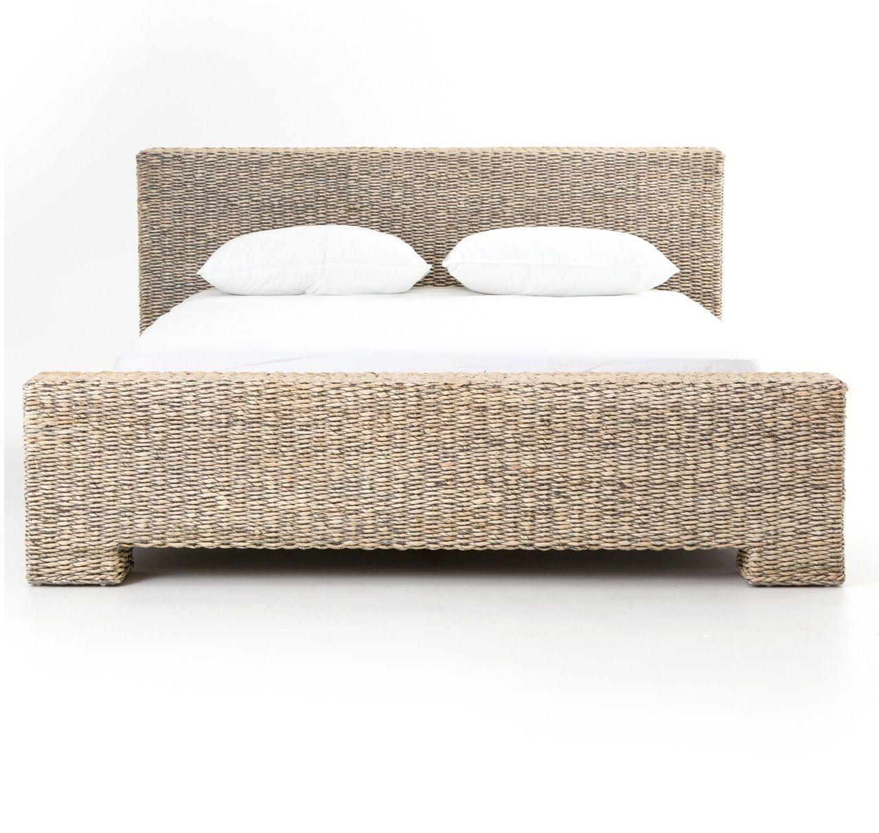 Https Www Zinhome Com Bali Woven Rattan King Platform Bed Gray