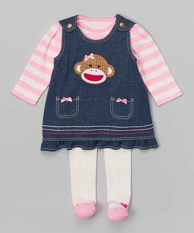 22c68178adc6 This Denim   Pink Sock Monkey Jumper Set by Sock Monkey is perfect ...