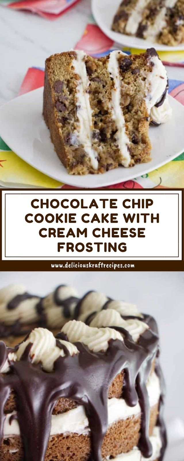 CHOCOLATE CHIP COOKIE CAKE WITH CREAM CHEESE FROSTING #creamcheesefrosting