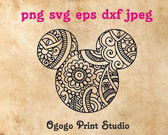 Mandala Style Mickey Mouse SVG, Zentangle SVG, Disney ...