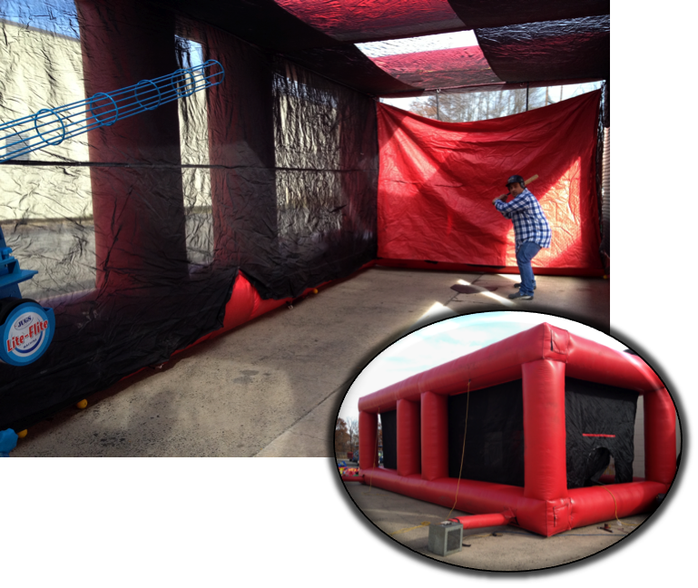 Step up to the plate and swing away in our inflatable batting cage.  Our pitching machine pitches safe foam Life Flite baseballs at speeds up to 85 mph. Great for ages 8 and up.  http://circustime.net/sports-mania/batting-cage.html