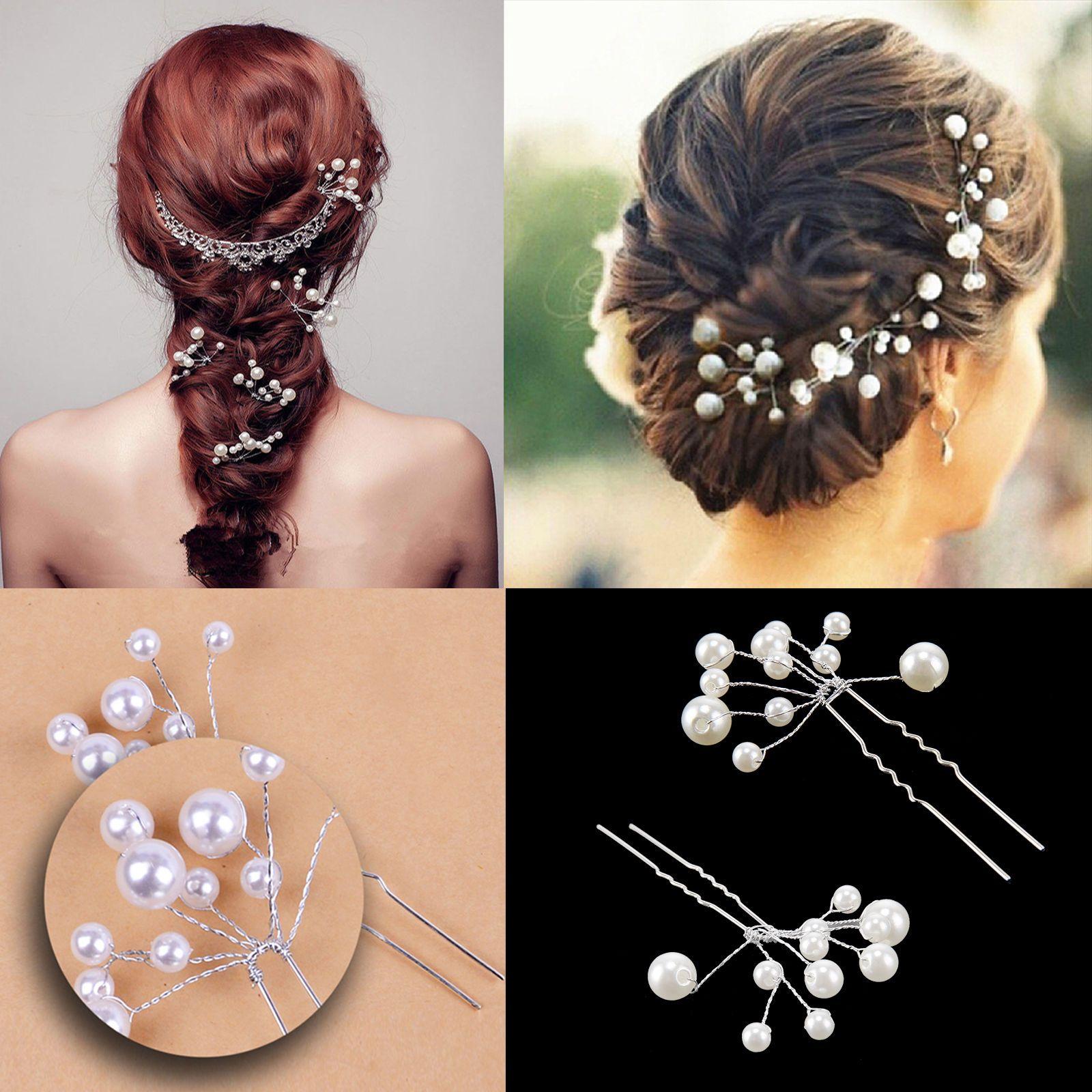 bridal hair pins pearl flower slide clips grips wedding jewelry