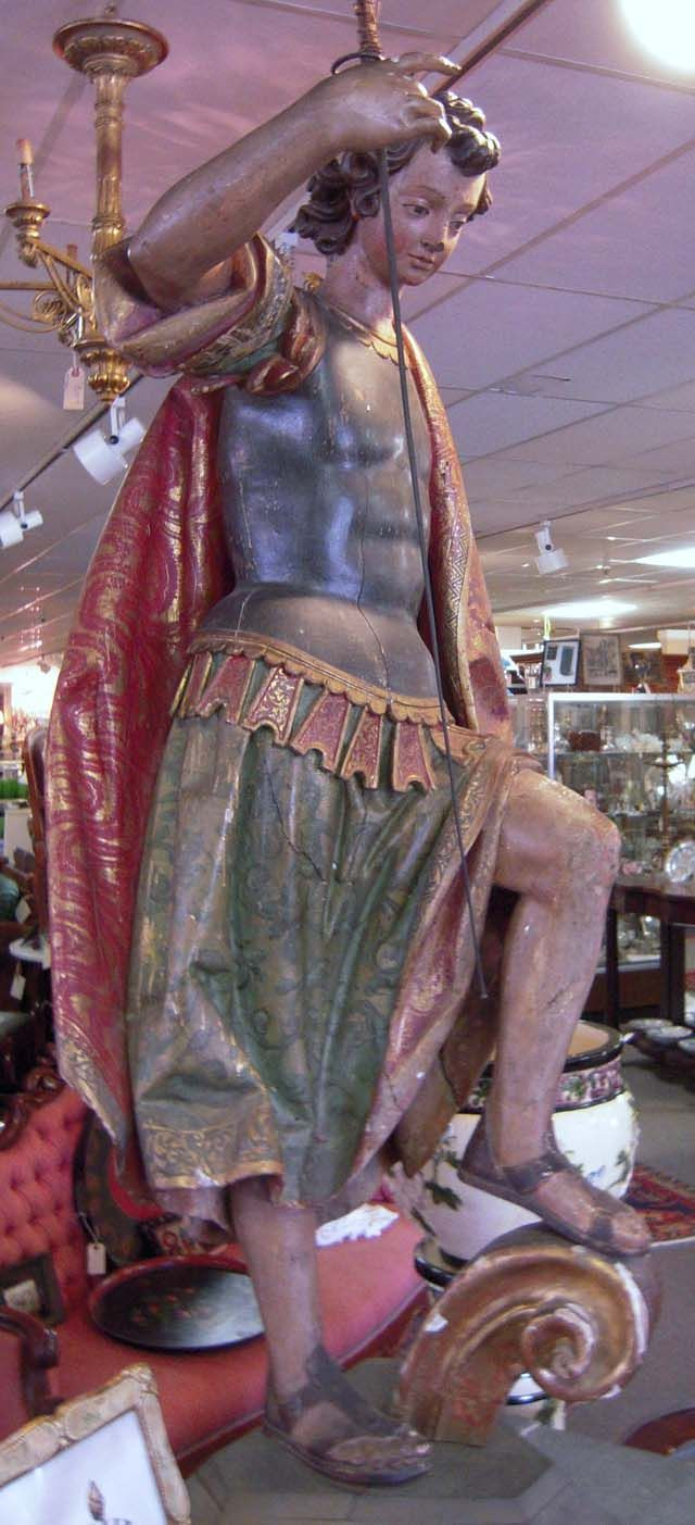 Antique Spanish Colonial Saint George Life-Size Carved and Polychrome Wood Figure, ca. 1750