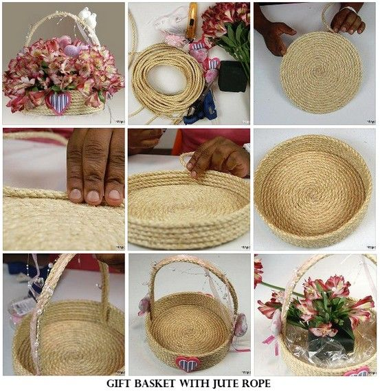 Gift basket from jute rope