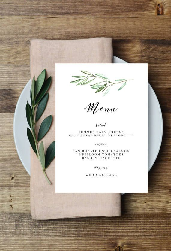 Printable Olive leaves wedding menu, olive branch menu template, greenery menu, romantic, whimsical, botanical, outdoor wedding menu, meal #weddingmenuideas