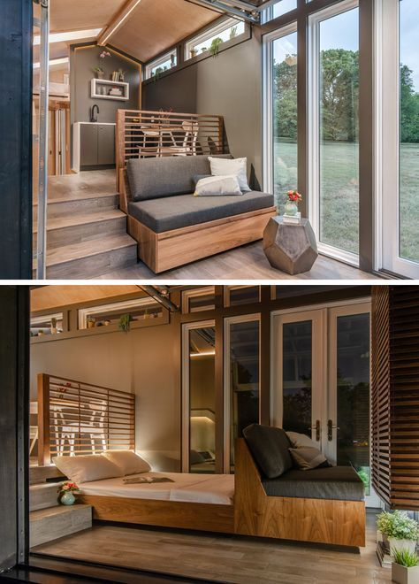 The small living room in this tiny home has a built-in couch that can be pulled out to reveal a full-size bed. #PullOutBed #TinyHome #TinyHouse #tinylivingideas