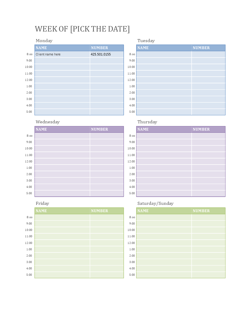 Weekly Appointment Calendar How To Make A Weekly
