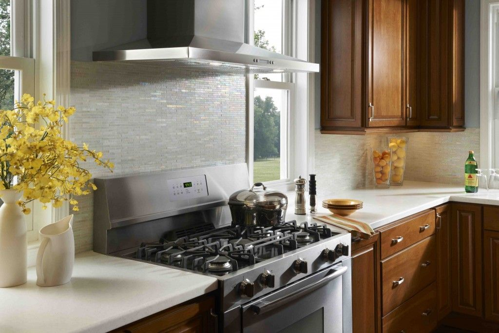 Kitchen Tile Backsplashes Wonderful White Tile Backsplash Kitchen With  Stainless Steel Appliances And A Pot Filler