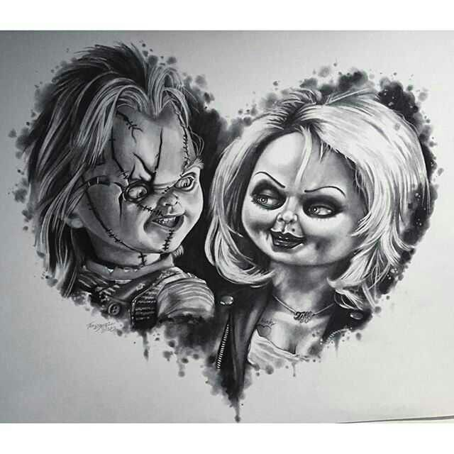 Chucky S Bride Fox And Doll Baby Bride Of Chucky Horror Drawing Doll Drawing