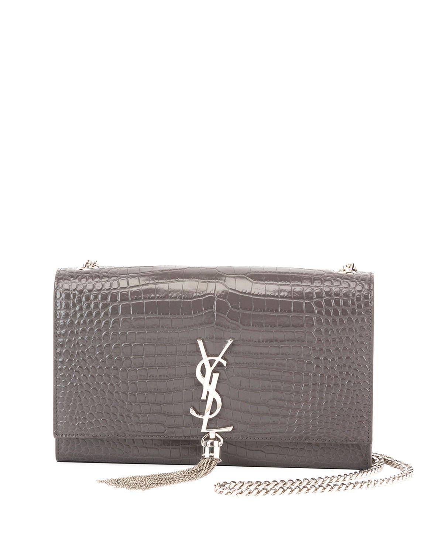 48daa6c2fcd Kate Monogram YSL Medium Crocodile-Embossed Tassel Shoulder Bag in ...