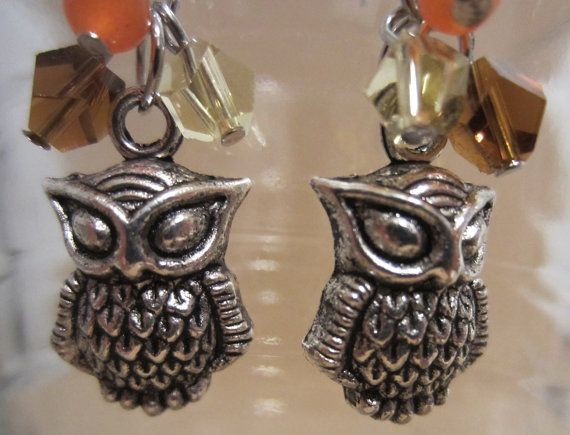 Earth Tones Over Owls Dangle Earrings by Pizzelwaddels on Etsy, $8.97