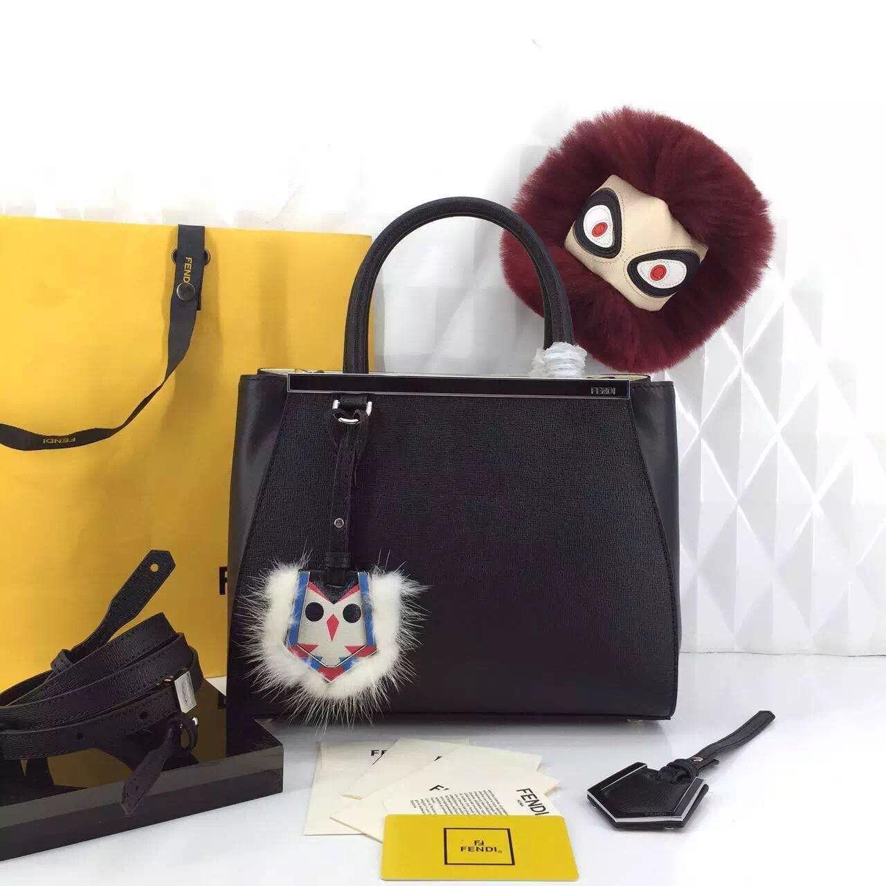 04c6a624fba Fendi Monster Charm 2Jours Mini Bag Black