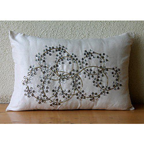 Designer Ivory Lumbar Pillow Cover