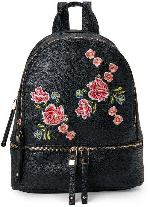 Urban Expressions Rose Embroidered Backpack ecbd579751357