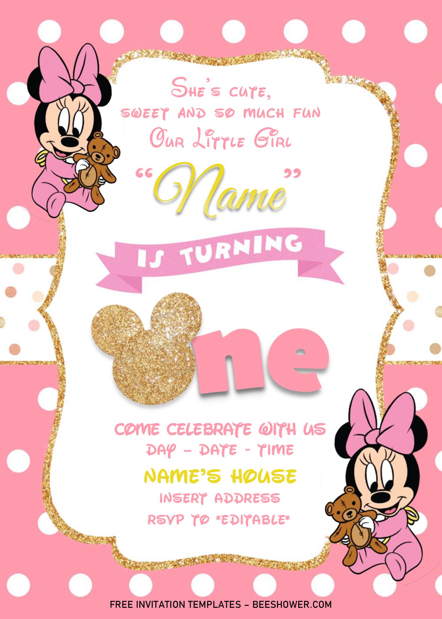 Gold Glitter Minnie Mouse Birthday Invitation Templates Editable Docx Minnie Mouse Birthday Invitations Minnie Invitations Minnie Mouse 1st Birthday