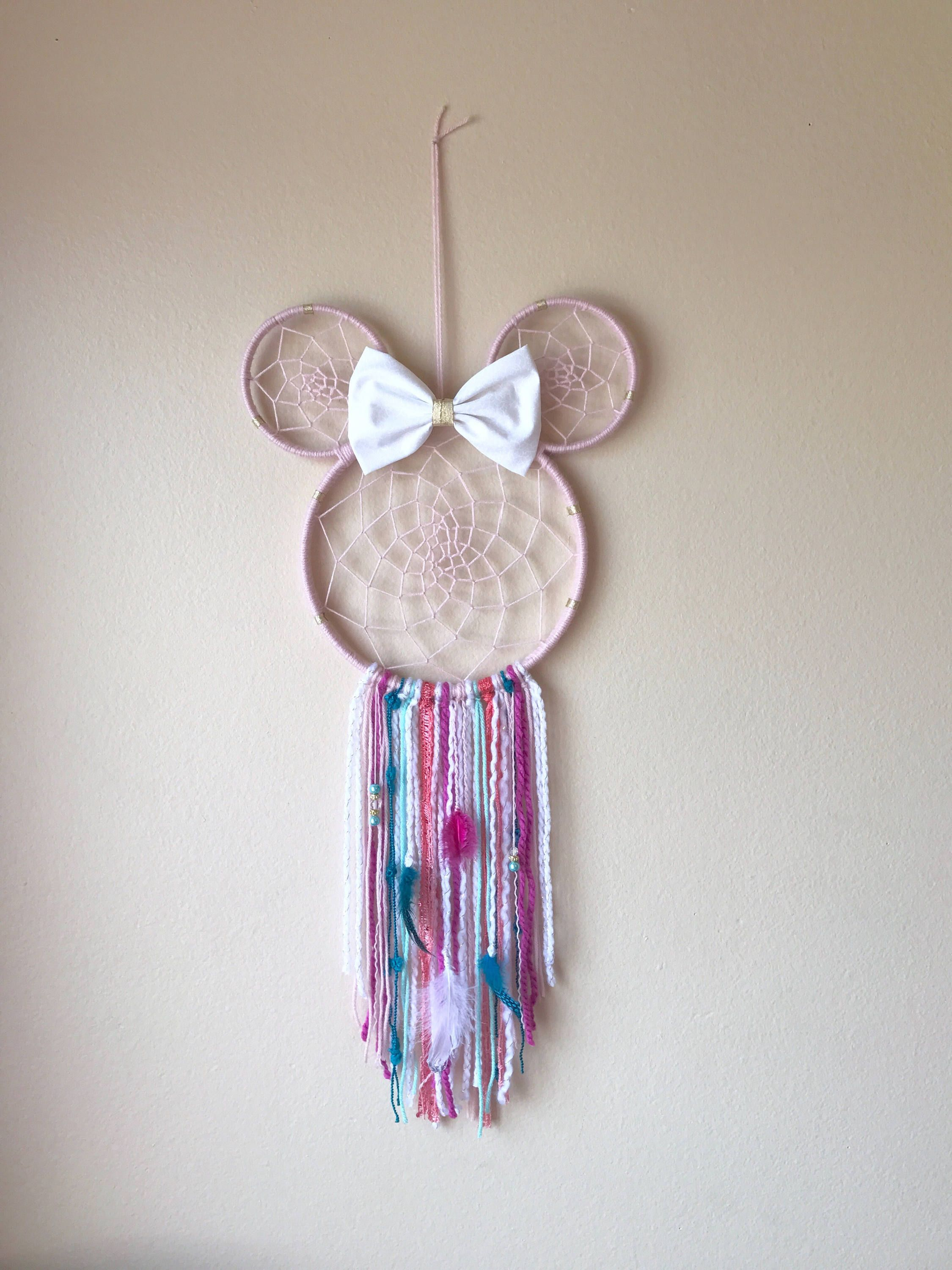 minnie dream catcher shabby chic kids room decor dream catcher pinterest dream catcher. Black Bedroom Furniture Sets. Home Design Ideas