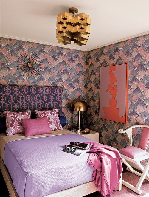 Purple Boho Bedroom Mountain Wallpaper Mixing Patterns Brass Pendant Light