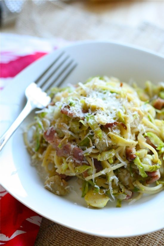 spaghetti with bacon brussel sprouts and artichokes